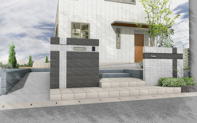 玄関までスロープのある外構プラン 埼玉県 大興