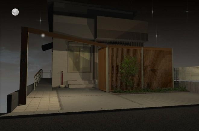 プラスGを使用したフレームデザインで一体感のあるモダンなオープン外構に さいたま 大熊工務店