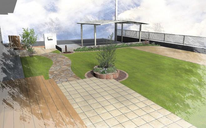 人工芝・石貼り・タイル貼りでメンテナンスフリーなお庭にガーデンリフォーム 積水ハウス 久喜市西大輪