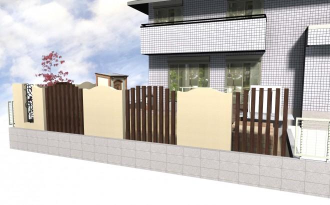 隣地との目隠しに重点を置き、カンナキュートを使用しお庭を華やかにしました