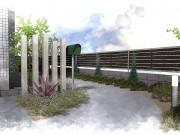 植栽に溢れるコンクリートのアプローチ施工例