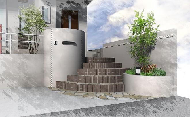 高低差を曲線の階段で克服した塗り壁デザイン さいたま市 住友不動産
