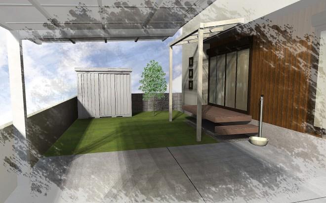 白を基調として店舗内装のような佇まいのエクステリアに 埼玉県幸手 県民共済住宅
