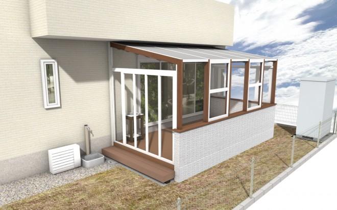 埼玉県越谷市 ガーデンルーム ココマ L型腰壁タイプ