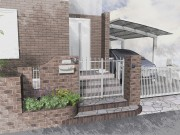 外壁に合わせたタイル 名古屋モザイク ベイクボーダーとサッシの色に合わせた門扉・フェンス
