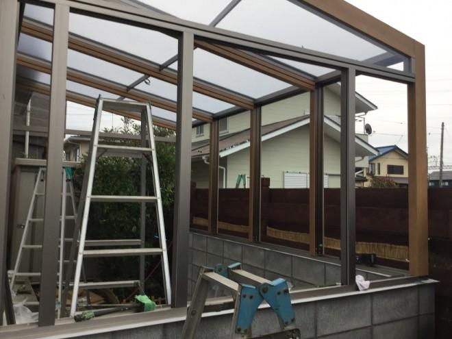 埼玉県 ガーデンルームココマ 腰壁タイプ 2間-8尺 サンルーム