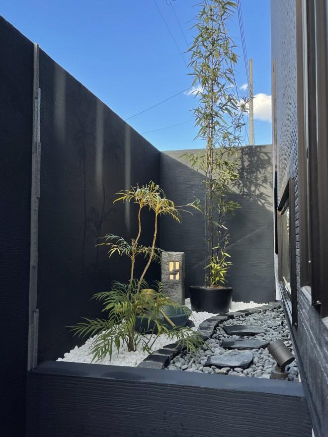 埼玉県上尾市 和モダン外構施工例 和風庭園 坪庭 ライティング
