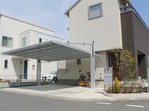 三協アルミ 4G(フォーグ)を用いスタイリッシュなオープン外構をデザイン 東松山市
