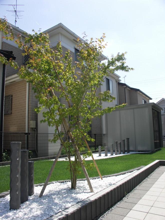 いぶし陶木&イロハモミジで和モダンな空間にガーデンリフォーム 宮代町 大和ハウス