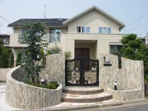 天然石タイル|曲線門柱|東京都足立区