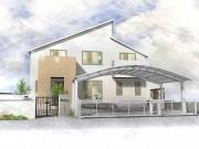 三菱地所ホームの上品な建物を包み込んだシンプルモダンのクローズ外構施工例