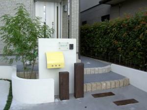久喜市 コンクリート枕木 塗壁外構